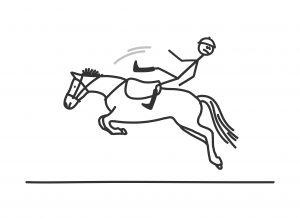 Skizze reiten und vom Pferd fallen